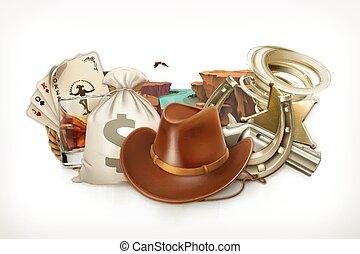 emblemat, kowboj, adventure., gra, wektor, retro, western,...