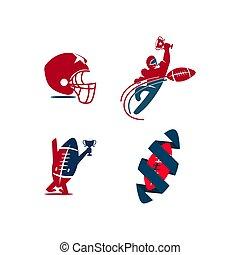 emblemat, piłka nożna, amerykanka, projektować, szablon, logo, sport