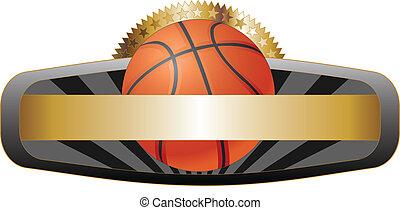 emblemat, projektować, koszykówka, chorągiew