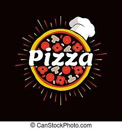 emblemat, restauracja, promocyjny, kapelusz kuchmistrza, pizza