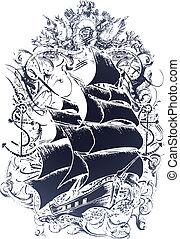 emblemat, stary, statek