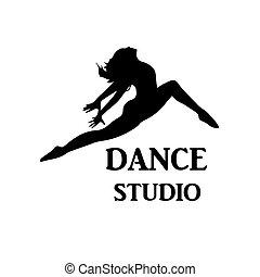 emblemat, taniec, wektor, studio
