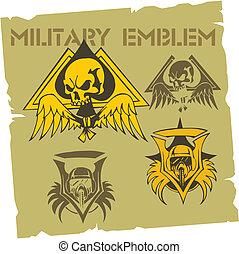 emblemat, wojskowy, set., wektor, -