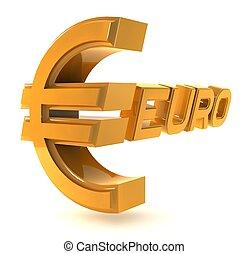 emblemat, złoty, odizolowany, tło, biały, euro