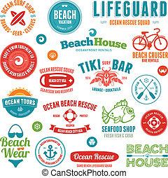emblematy, plaża, symbole