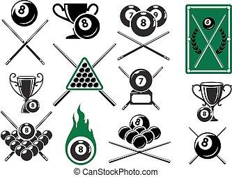 embleme, billard, snooker, teich, sport