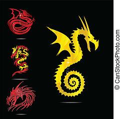 emblemi, set, rosso, oro, draghi