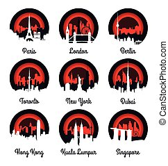 Emblems and badge city skyline vector illustration
