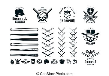 Emblems and badges set of campus baseball team