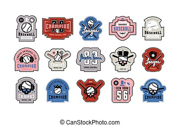 Emblems and badges set of campus baseball tournament