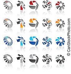 emblems., conjunto, moderno