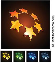 emblems., constelación, vibrante, 3d