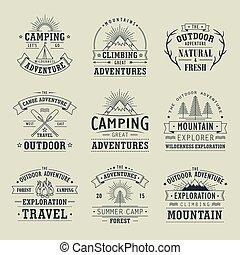 emblems, exploratie, wildernis, natuur