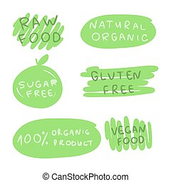 Emblems on the theme of healthy nutrition.