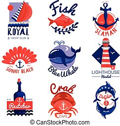 emblems, set, nautisch