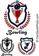 emblems, sportende, bowling, iconen