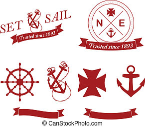 emblems, vector, set:, nautisch
