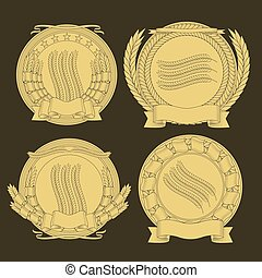 emblems with and a wreath of wheat. vector image