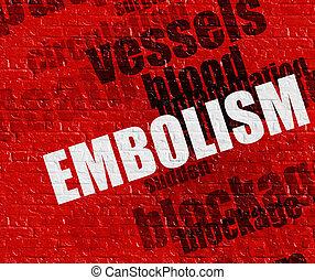 embolie, moderne, rood, brickwall, gezondheidszorg, concept:
