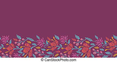 Emboridered Flowers Horizontal Seamless Pattern border