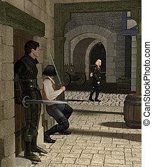 emboscada, em, um, medieval, ruela