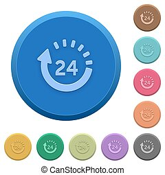 Embossed 24 hour delivery buttons