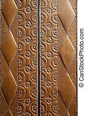 embossed brass vintage old church door detail craftsman art