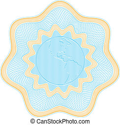 """Secured """"Guilloche"""" rosette with embossed globe, elements are in layers for easy editing"""