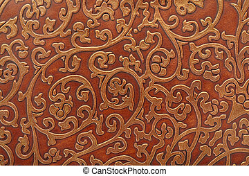 Embossed leather floral pattern background