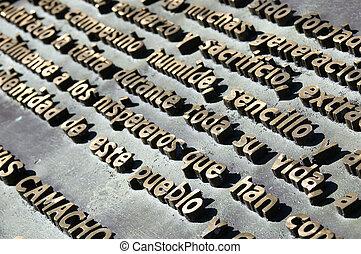 Embossed metal letters