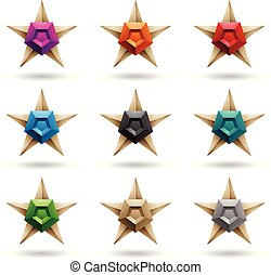 Embossed Stars with Colorful Pentagon Shapes Vector...
