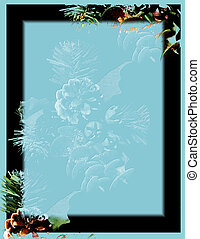 Black border on teal with embossed pinecone.