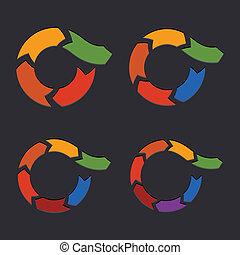 embossed, vector, pijl, cirkel, set.