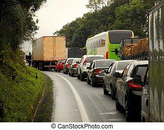 embotellamiento, brasil, carretera