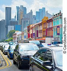 embotellamiento, chinatown, singapur