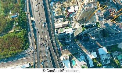embouteillage, au-dessus, bangkok, aérien, autoroute, 02, vue