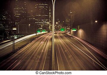 embouteillage, dans, en ville