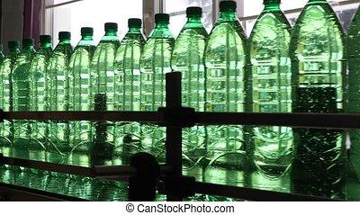embouteillage, eau, plastique