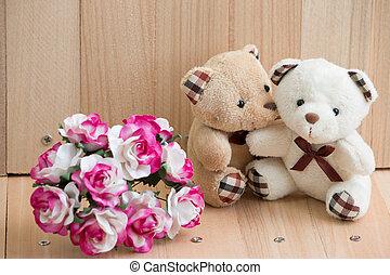 Embrace Bears in love sit near bouquet rose.