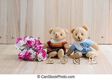 Embrace Bears in love, sit near bouquet rose.