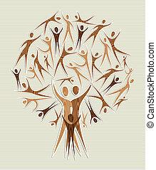 Embrace diversity tree set - Family human shapes conceptual...