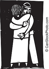 Jewish man and woman embracing rendered in an expressionist style.