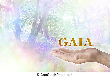 Male hand palm up with a gold colored GAIA word floating above and a rainbow colored bokeh effect woodland scene behind