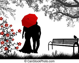 Embraced lovers - View of couple a back under red umbrella,...
