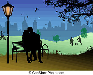 Embraced lovers in a city park. Vector illustration