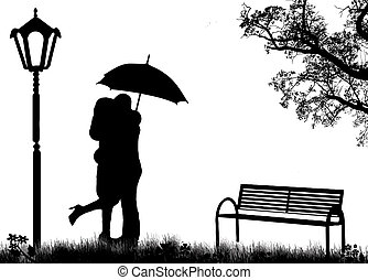 Embraced lovers in a park, on black and white, vector illustration