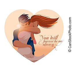 Embraces of a loving couple. Vector illustration