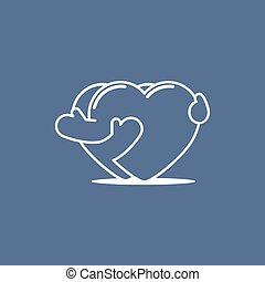Two embracing hearts line symbol. Vector illustration, easy editable.