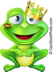 embrassé, prince, grenouille