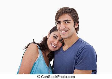 embrasser, couple, agréable, autre, chaque